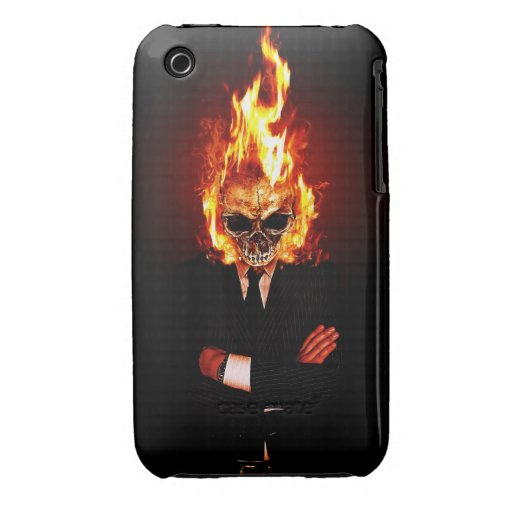 Skull on fire iPhone 3 Case-Mate case