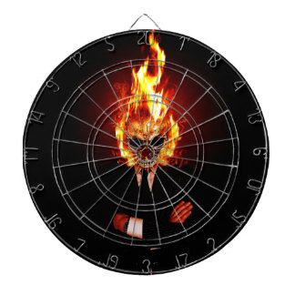Skull on fire dartboard with darts