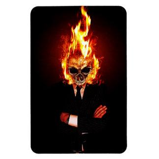 Skull on fire magnet