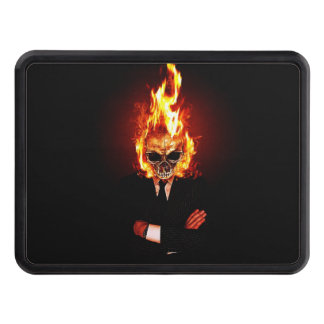 Skull on fire trailer hitch covers