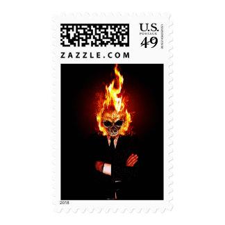 Skull on fire postage