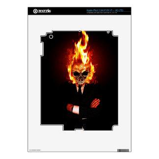 Skull on fire iPad 3 skins
