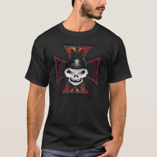 Skull on Flaming Iron Cross T-shirt