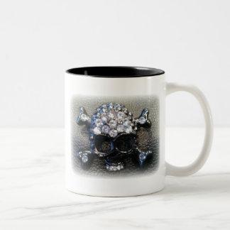 SKULL ON LEATHER BACKGROUND matte print Two-Tone Coffee Mug