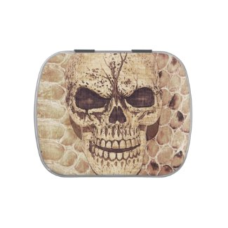 skull on snakeskin jelly belly candy tin
