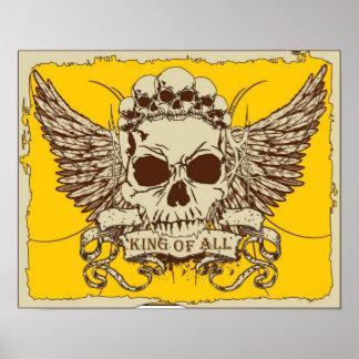 Skull on Yellow Poster