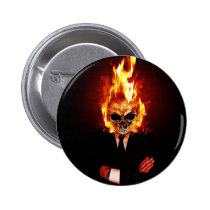 skull, fire, rock'n'roll, comic, rock' roll, incredible, flame, single, hard rock, metal, monsters, creatures, Button with custom graphic design