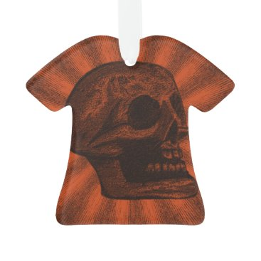 Halloween Themed Skull -Orange & Black Rays Ornament