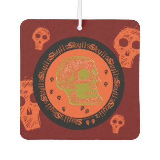 Skull - Orange/Gold Car Air Freshener