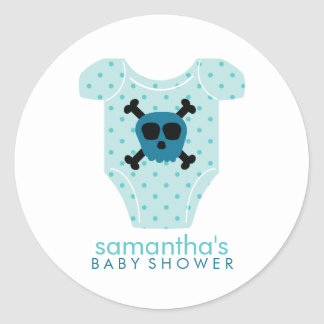 Skull Outfit Boy Baby Shower Classic Round Sticker