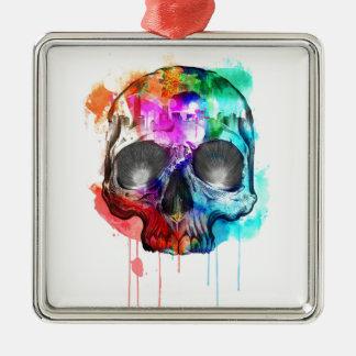 Skull Paint Splatter Metal Ornament