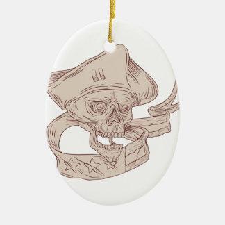 Skull Patriot Ribbon Flag Drawing Ceramic Ornament