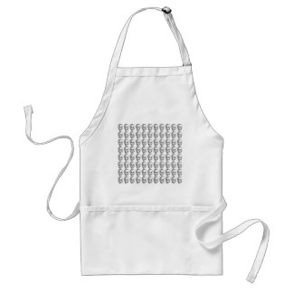 Skull Pattern. Black and White. Adult Apron