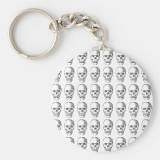 Skull Pattern. Black and White. Key Chains
