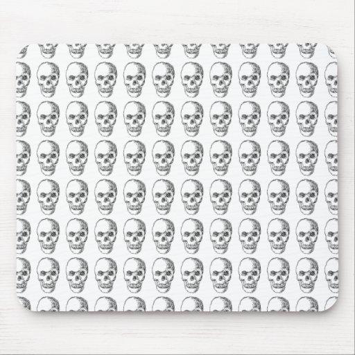 Skull Pattern. Black and White. Mousepad
