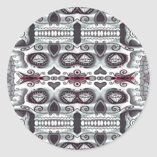 Skull pattern classic round sticker