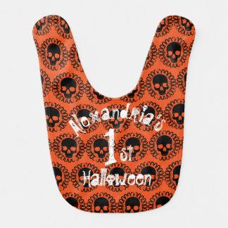 Skull Pattern Custom Baby's First Halloween Bib
