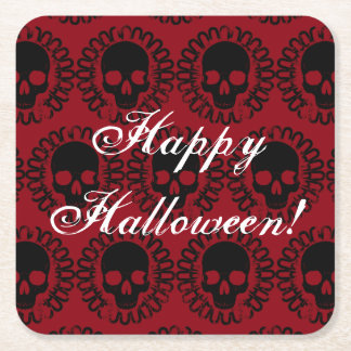 Skull Pattern Elegant Fun Halloween Goth Any Color Square Paper Coaster