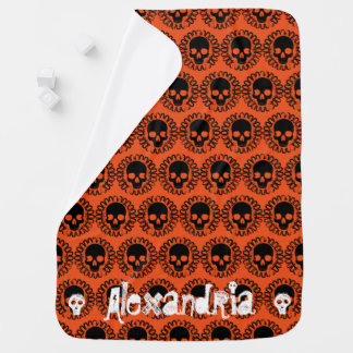Skull Pattern Fancy Halloween Goth Any Color Swaddle Blanket