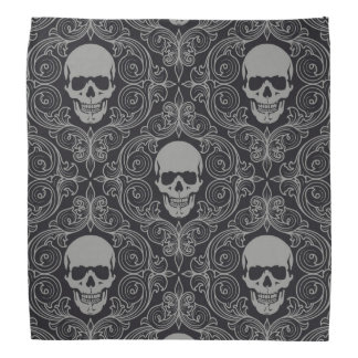 Skull Pattern Gray and black Texture Gothic Floral Bandana