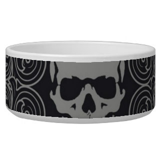 Skull Pattern Gray and black Texture Gothic Floral Bowl