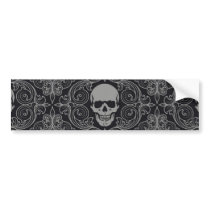 Skull Pattern Gray and black Texture Gothic Floral Bumper Sticker