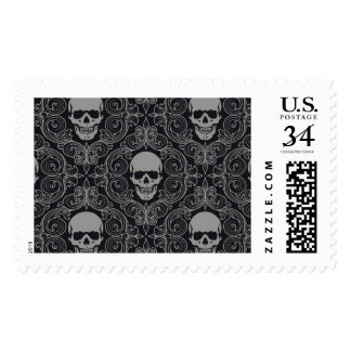 Skull Pattern Gray and black Texture Gothic Floral Postage