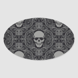 Skull Pattern Gray and black Texture Gothic Floral Oval Sticker