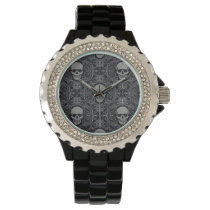 Skull Pattern Gray and black Texture Gothic Floral Wrist Watch