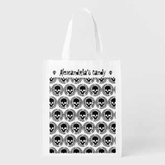 Skull Pattern Halloween Punk Goth Trick Or Treat Reusable Grocery Bag