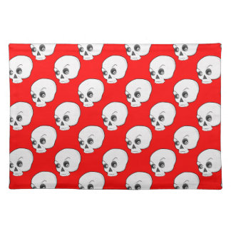 Skull Pattern On Red Background Cloth Placemat