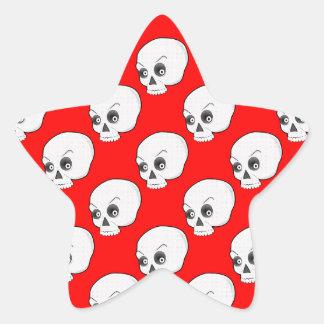 Skull Pattern On Red Background Star Sticker