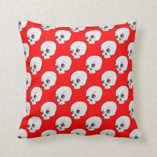 Skull Pattern On Red Background Throw Pillow