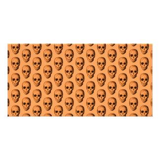 Skull Pattern Orange Customized Photo Card