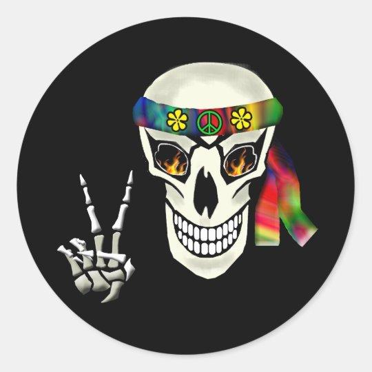 Skull Peace Classic Round Sticker