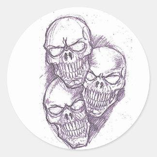 Skull Pencil Sketch Classic Round Sticker
