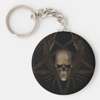 Skull Pentacle Basic Round Button Keychain