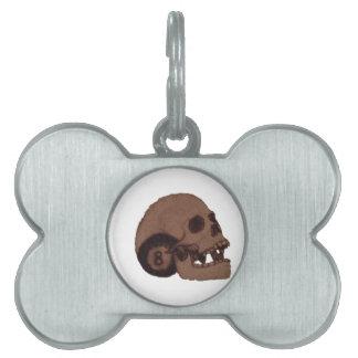skull pet name tag