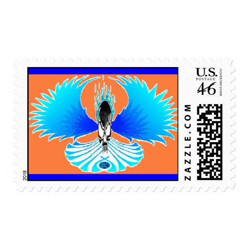 Skull Phoenix Negative Orange Postage Stamp