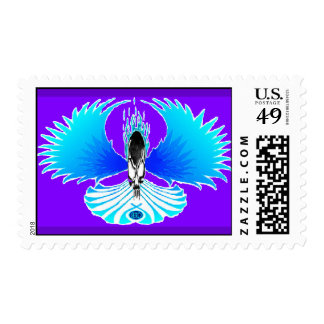 Skull Phoenix Negative Purple Postage Stamp