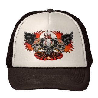 Skull Phoenix white Trinity Winged Skulls Hats