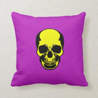 Skull Pillow - Yellow Purple