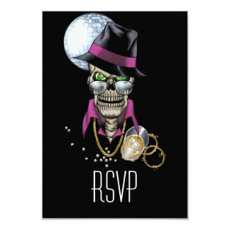 Skull Pimp with Hat, Glasses, Gold Chain and Disco 3.5x5 Paper Invitation Card