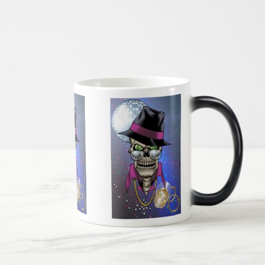 Skull Pimp with Hat, Glasses, Gold Chain and Disco Magic Mug