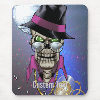 Skull Pimp with Hat, Glasses, Gold Chain and Disco Mouse Pad