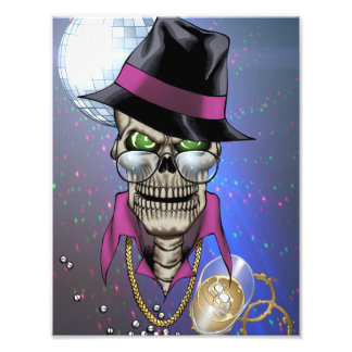 Skull Pimp with Hat, Glasses, Gold Chain and Disco Photo Print