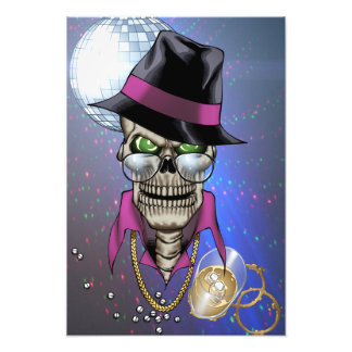 Skull Pimp with Hat, Glasses, Gold Chain and Disco Photo