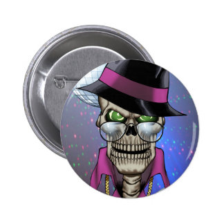 Skull Pimp with Hat, Glasses, Gold Chain and Disco Pinback Button