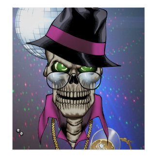 Skull Pimp with Hat, Glasses, Gold Chain and Disco Poster