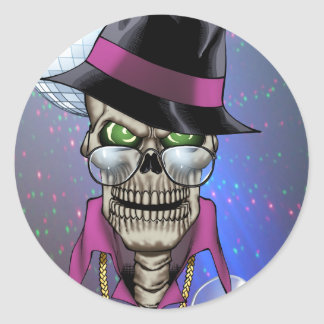 Skull Pimp with Hat, Glasses, Gold Chain and Disco Classic Round Sticker